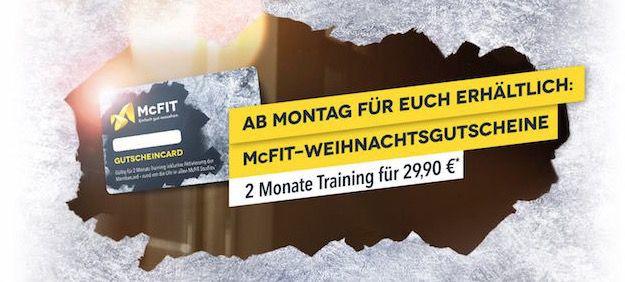 2 Monate McFit für 29,90€ dank Weihnachtsgutschein