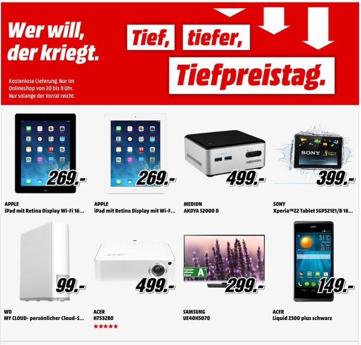 Apple iPad 4 WiFi für 269€ und mehr MediaMarkt Tiefpreistag Angebote