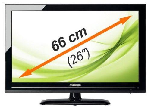 Medion LIFE P12092   26 Zoll Full HD Fernseher mit DVD Player und Triple Tuner für 179,99€