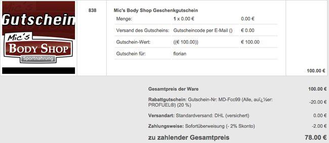 Mics Body Shop Mics Body Shop: 100€ Gutscheinkarte für 78€   20€ und 20% Gutscheine für andere Artikel