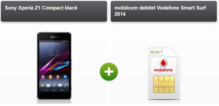 Sony Xperia Z1 Compact + Vodafone Smart Surf 2014 mit 50mins/SMS + 1GB Daten für 14,99€ montl.