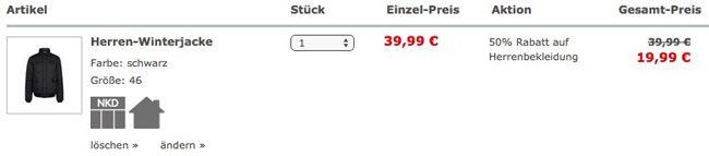 NKD Warenkorb Bis zu 50% Rabatt auf die komplette Herrenmode bei NKD + 10€ Gutschein