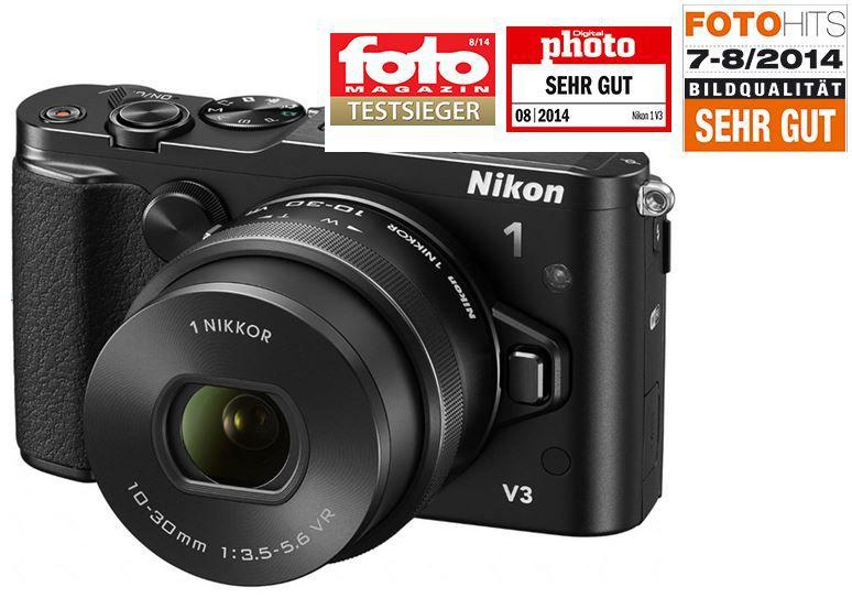 Nikon 1 V3   18 MP Systemkamera im Kit inkl. 10 30mm Objektiv statt 789€ für 699€