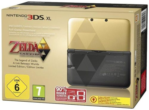 Nintendo 3DS XL Gold Nintendo 3DS XL Gold + Zelda: A Link Between Worlds Limited Edition (DLC) für 192€