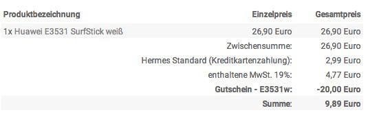 Huawei E3531 SurfStick bis zu 21 Mbit/s für 9,89€