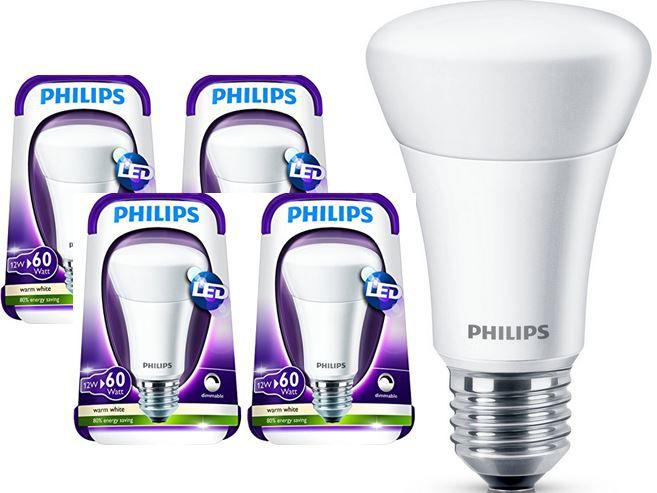 Philips1 Philips E27 LED Leuchtmittel – dimmbar im 4er Pack für 35,90€