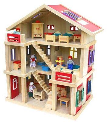 Puppenhaus + viele Möbel + Puppenfamilie für 59,95€ (statt 80€)