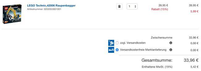 Real Warenkorb LEGO Technic 42006 Raupenbagger ab 33,96€ statt 51€