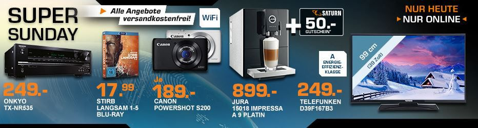 Saturn Super Sunday4 JURA IMPRESSA A9 Platin   Kaffee Vollautomat statt 1.019€ für 849€ und mehr Saturn Super Sunday Angebote   Update!