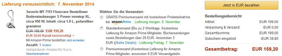 Saugstauber Severin BC 7045 Bodenstaubsauger für 95,20€ bei der Amazon 20% Rabatt Aktion