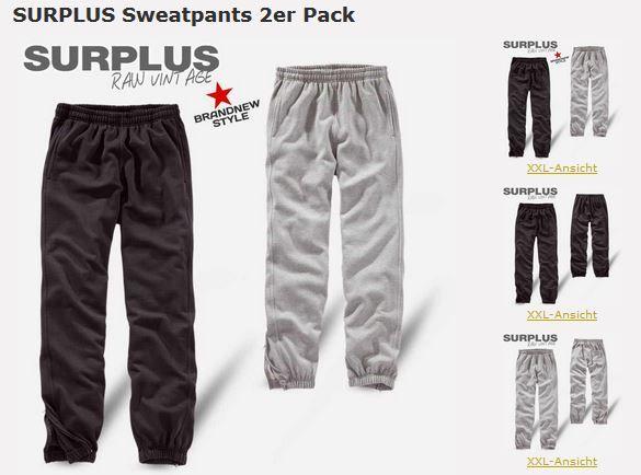 #SURPLUS Raw Vintage Sweatpants im 2er Pack schwarz&grau für 19,90€