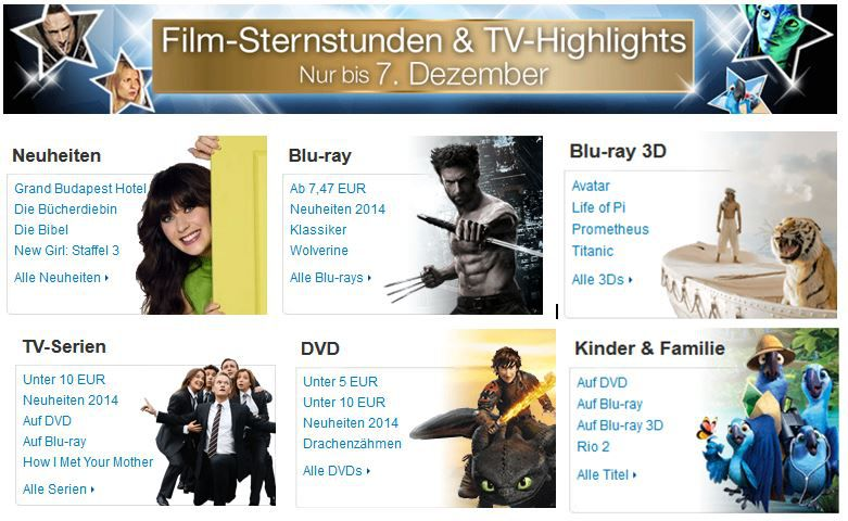 Film Sternstunden & TV Highlights bei den 7 Tage Amazon Film Angeboten