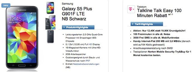 Talkline Talk Easy Samsung Galaxy S5 + Telekom Talkline Talk Easy für 13,36€ monatlich