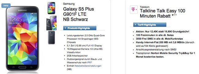 Samsung Galaxy S5 + Telekom Talkline Talk Easy für 13,36€ monatlich
