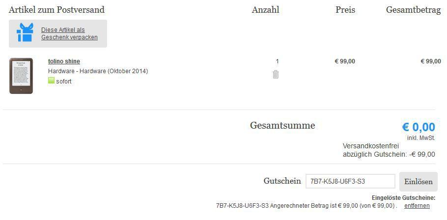 Gutscheinfehler! Tolino Shine eBook reader im Wert von 99€ kostenlos!