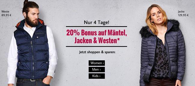 20% Rabatt auf Mäntel, Jacken und Westen bei Tom Tailor + 10% Gutschein