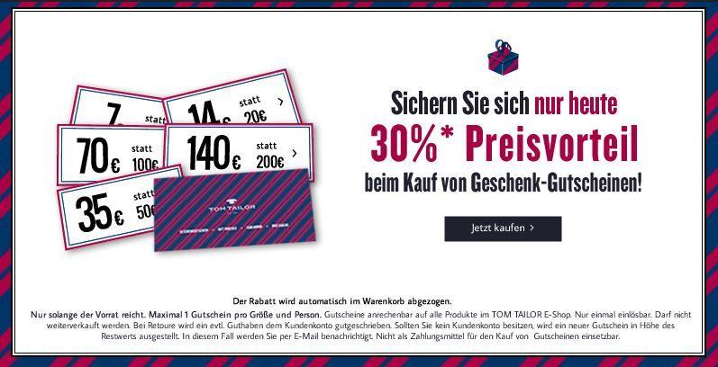 TomTailor gutschein  TomTailor   30% Rabatt auf alle Geschenkgutscheine max. mit 114€ Ersparnis   Update!