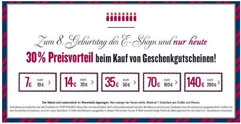 TomTailor1  TomTailor   30% Rabatt auf alle Geschenkgutscheine max. mit 114€ Ersparnis   Update!