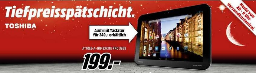 Toshiba TOSHIBA Excite Pro AT10LE A 109    10Zoll IPS Tablet mit 32GB ab 199€
