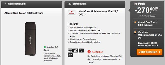 Vodafone Internet 3GB Vodafone 50 Mbit/s Datenflat + UMTS Stick für 3,74€ monatl.   Update!