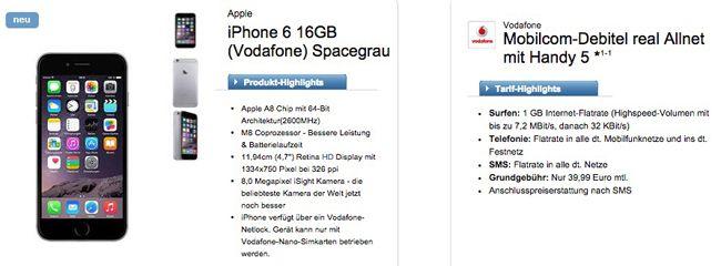 Vodafone Real Allnet Flat + iPhone 6 16GB für 39,99€ monatlich