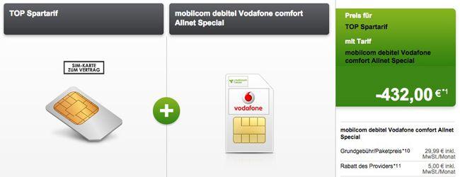 Vodafone comfort Allnet Special *TIPP* Vodafone comfort Allnet Special + Daten Flat (500MB, 1,5GB oder 2,5GB) ab 6,99€ monatlich