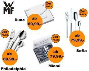 WMF2 WMF Miami, DUNE, Sofia oder Philadelphia    24 teiliges Edelstahl Besteck Set im Doppelpack ab 69,99€   Update!