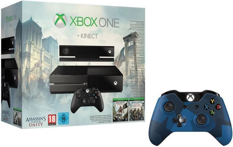 XBoxe one Xbox One Bundle + Kinect + Assassins Creed Black Flag + Assassins Creed Unity + style Controller für 429€