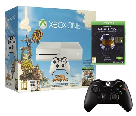 Xbox One Bundle Xbox One Weiß mit 2. Controller + Sunset Overdrive + Halo: The Masterchief Collection für 398,89€