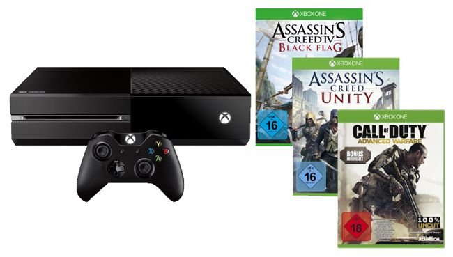 Xbox One 500GB mit CoD: Advanced Warfare + Assassins Creed: Unity & Black Flag ab 385,91€