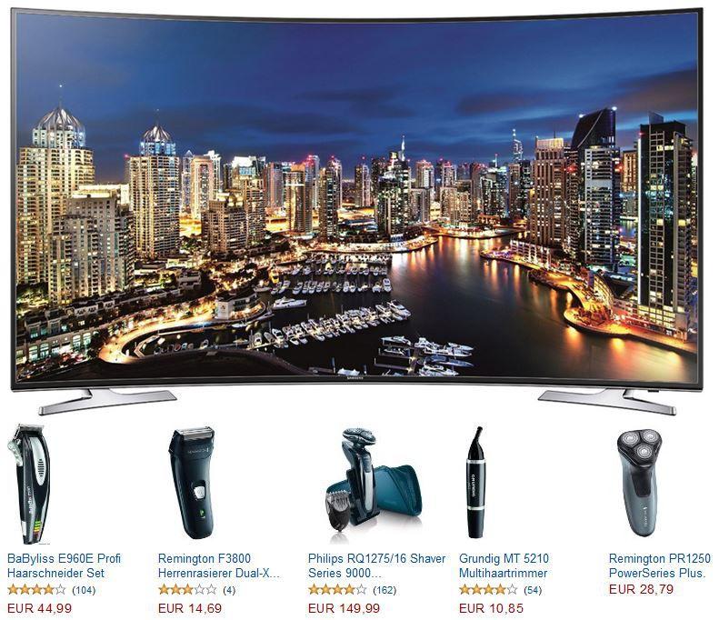 Samsung UE55HU7100 55 Zoll Curved TV für 1.249€ und 30 Rasierer Angebote @Amazon