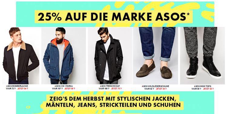 asos 25% Rabatt auf ASOS Marken Kleidung für Damen und Herren