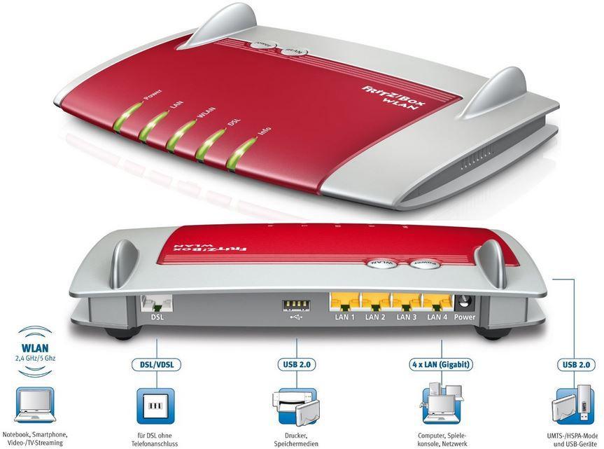 fritz AVM FRITZ!Box WLAN 3370 Wlan Router (VDSL/ADSL, 450 Mbit/s, Media Server) für 89€