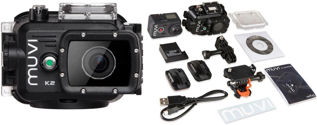 muvi Veho Muvi K2   FullHD WiFi Action Cam mit Zubehör für 175,90€