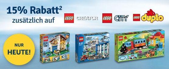 15% Rabatt ab 30€ auf LEGO Duplo, LEGO City und LEGO Creator + gratis LEGO Star Wars Starfighter