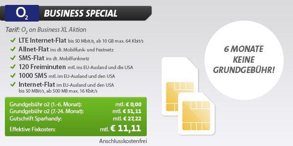 o2 Business XL All Net Flat mit 10GB Datenflat für Selbstständige effektiv nur 16,76€   Update!