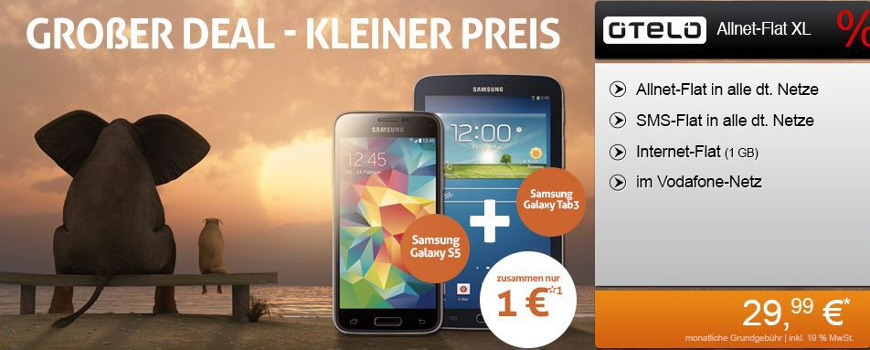 Samsung Galaxy S5 + Galaxy Tab 3 7.0 + Vodafone AllNet Flat mit 1GB für 29,99€ monatl.