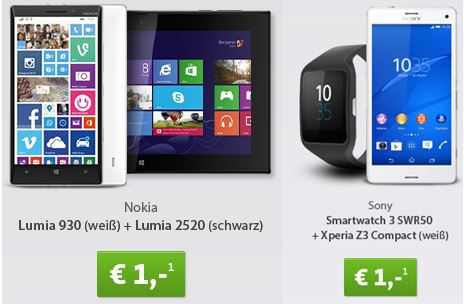 Vodafone Smart XL All Net Flat + Top Smartphone & Tablet z.B. Lumia 930 + Lumia 2520 für 39,99€ montl.