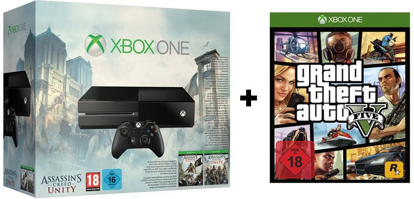 Xbox One 500GB inkl. Assassins Creed Unity und Black Flag (DLC) + Raman ab 401€ Update!