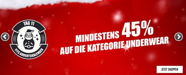 Mindestens 45% Rabatt auf Underwear bei 11teamsports + 5€ Gutschein