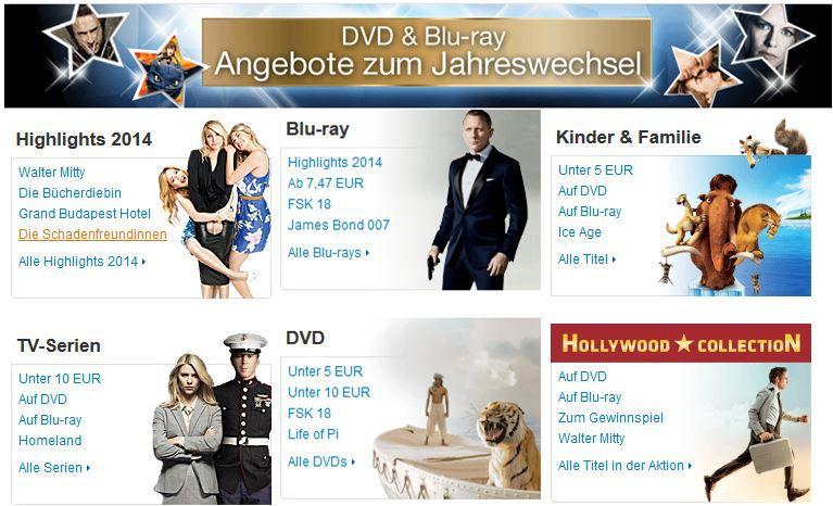Amazon DVD und Bluray