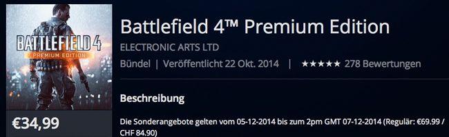 Battlefield 4 Premium Edition PS4 für 34,99€