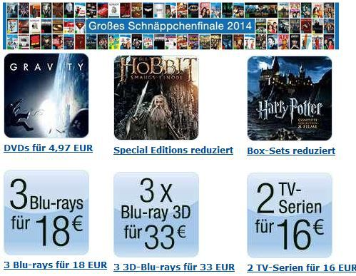 Blu Angebote 3 Blu rays für 18€ und mehr Angebote bei dem Amazon DVD und Blu ray Schnäppchenfinale 2014   Update