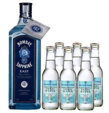 Bombay Sapphire East 1l Gin + 6x Fever Tree Mediterranean Tonic Water für 31,26€
