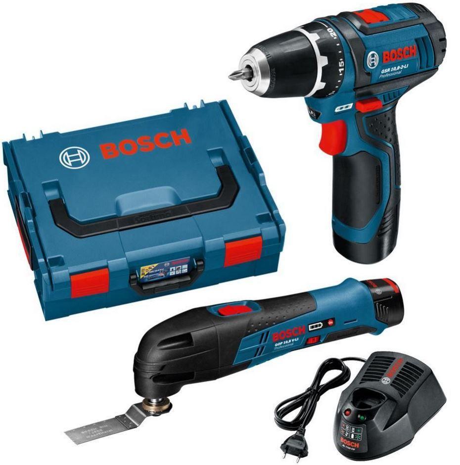 Bosch Set Bosch Akku Li Io Schrauber GSR 10,8 2 LI + Multifunktionsgerät GOP 10,8 V LI und L Box für 179€   Update