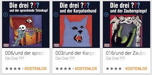 DIe 3 Fragezeichen Die drei ???   3 ausgewählte Hörspiele kostenlos im Play Store