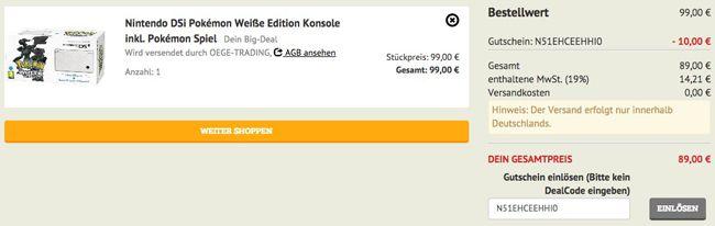 Dealclub Kasse Nintendo DSi Pokémon Weiße Edition Konsole + Pokémon Spiel ab 89€