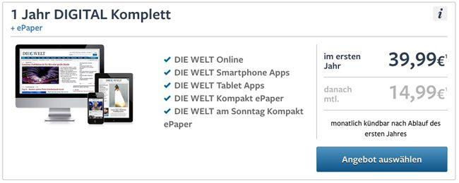 Jahresabo DIE WELT Digital für 39,99€ oder 2 Monate für 0,99€ testen   Update!