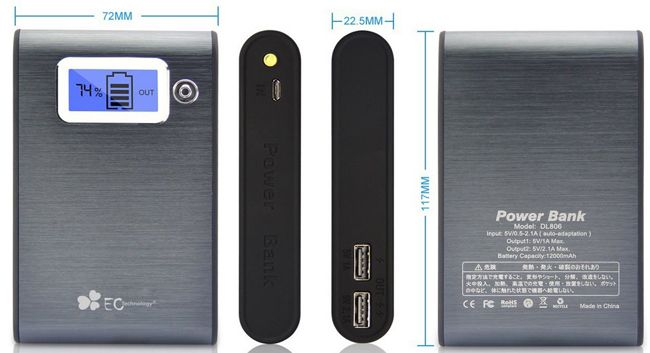 EC Technology Ultra Kompakt Powerbank mit 12.000mAh, LCD Display und integrierter Taschenlampe ab 18,99€