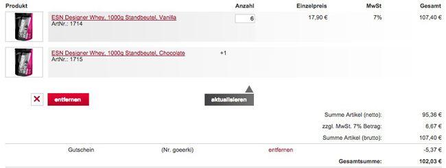 Fitmart Warenkorb ESN Designer Whey 7kg Standbeutel für 102€   erstmals unter 15€ pro Kilo!